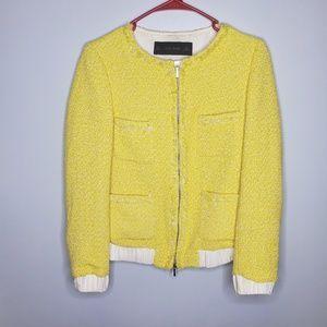 Zara Size S Yellow Tweed Cuffed Jacket